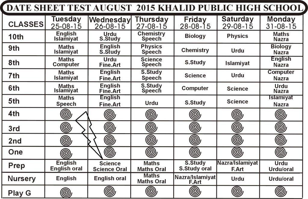 Date Sheet August 2015